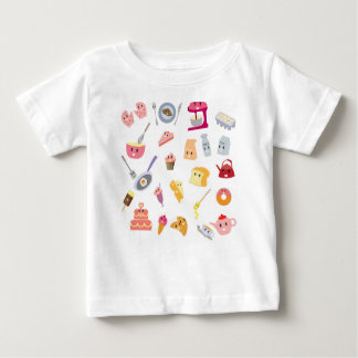 Bakery beverage and sweet kitchen cute icon set baby T-Shirt