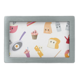 Bakery beverage and sweet kitchen cute icon set belt buckles