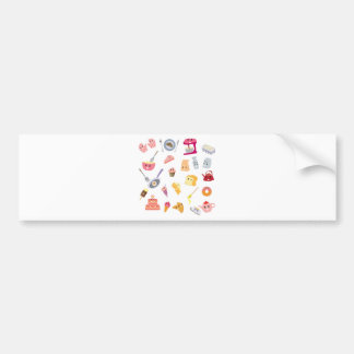 Bakery beverage and sweet kitchen cute icon set bumper sticker