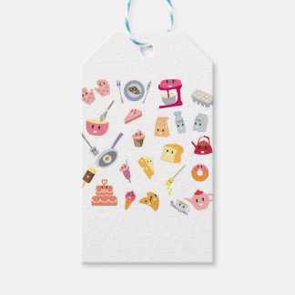 Bakery beverage and sweet kitchen cute icon set gift tags