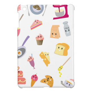 Bakery beverage and sweet kitchen cute icon set iPad mini covers