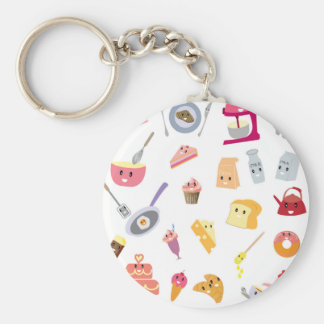 Bakery beverage and sweet kitchen cute icon set key ring