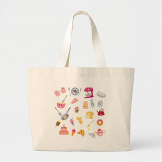 Bakery beverage and sweet kitchen cute icon set large tote bag