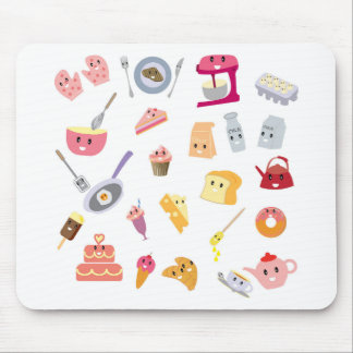 Bakery beverage and sweet kitchen cute icon set mouse pad