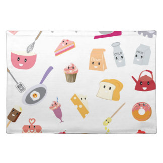 Bakery beverage and sweet kitchen cute icon set placemat
