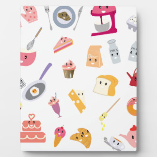 Bakery beverage and sweet kitchen cute icon set plaque