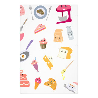 Bakery beverage and sweet kitchen cute icon set stationery