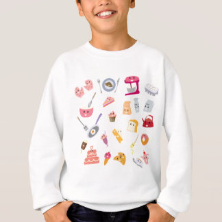 Bakery beverage and sweet kitchen cute icon set sweatshirt