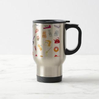 Bakery beverage and sweet kitchen cute icon set travel mug