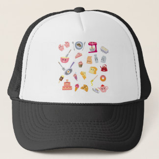 Bakery beverage and sweet kitchen cute icon set trucker hat