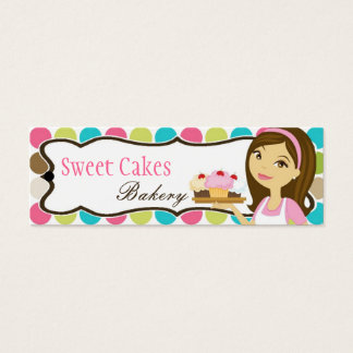 Bakery Brunette Baker Cup Product Hang Tag Label Mini Business Card