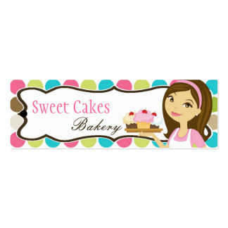 Bakery Brunette Baker Cup Product Hang Tag Label Pack Of Skinny Business Cards