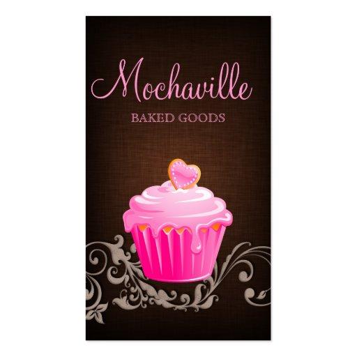 Bakery Business Card Cupcake Linen Brown 2