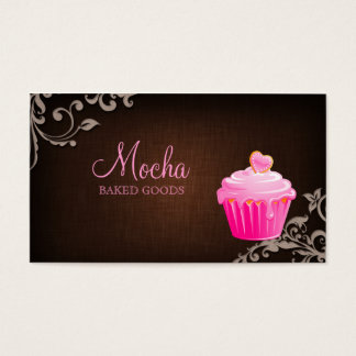 Bakery Business Card Cupcake Linen Brown Bg