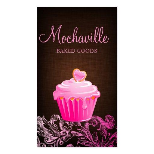 Bakery Business Card Cupcake Linen Brown Pink