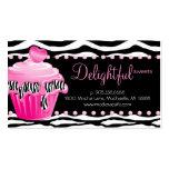 Bakery Business Card Zebra Pink Cupcake Heart Dots