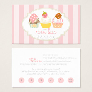 Bakery Cafe Retro Sweet Cupcakes Cute Loyalty Card