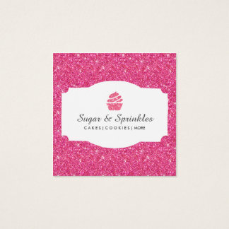 Bakery & Catering Glitter Business Cards (Pink)