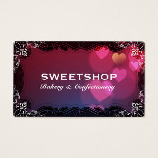Bakery & Catering Pink Hearts Businesscard