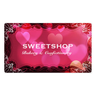 Bakery & Catering Pink Hearts Businesscard Double-Sided Standard Business Cards (Pack Of 100)