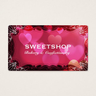 Bakery & Catering Pink Hearts Businesscard Business Card