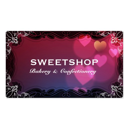 Bakery & Catering Pink Hearts Businesscard Business Cards