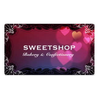 Bakery & Catering Pink Hearts Businesscard Pack Of Standard Business Cards