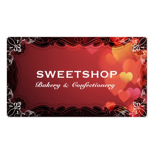 Bakery & Catering Red Hearts Businesscard Business Card Templates