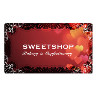 Bakery & Catering Red Hearts Businesscard Pack Of Standard Business Cards