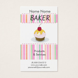 Bakery  Delicious Cute Chef Cooking Cupcakes Business Card