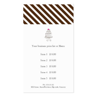 Bakery lines price list rack card pack of standard business cards