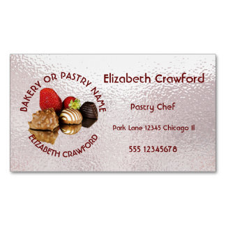 Bakery Or Pastry Sweets Cake Shop With Your Name Magnetic Business Cards