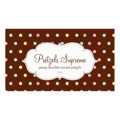 Bakery Polka Dots Chocolate Pink White Business Cards