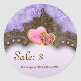 Bakery Sale Price Tag Vintage Damask Purple Cookie Round Sticker