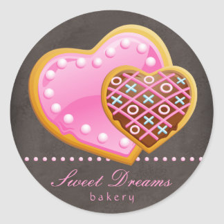 Bakery Stickers Pink Heart Cookie Chocolate Brown