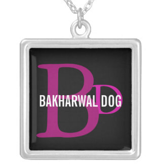 Bakharwal Dog Monogram Design Square Pendant Necklace