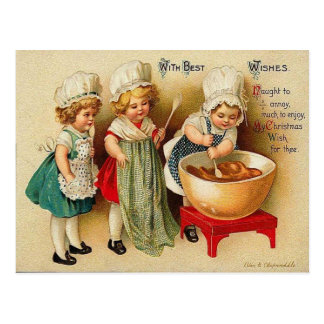 Baking A Christmas Plum Pudding Vintage Postcard