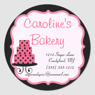 Baking and Bakery Boutique, Black and Pink Round Sticker