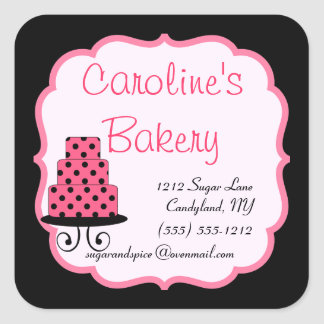 Baking and Bakery Boutique, Black and Pink Square Sticker