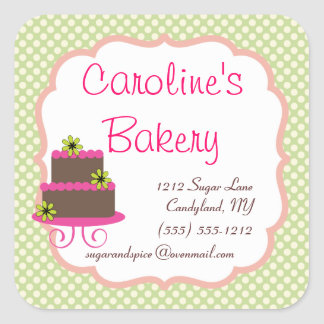 Baking and Bakery Boutique, Green Polka Dot Square Sticker