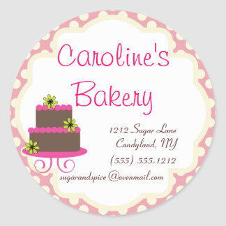 Baking and Bakery Boutique, Pink Polka Dot Round Sticker