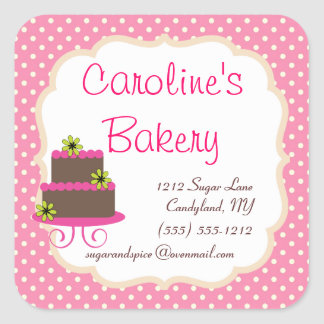 Baking and Bakery Boutique, Pink Polka Dot Square Sticker