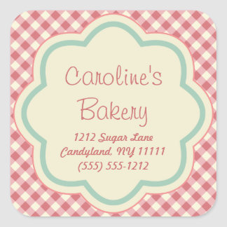 Baking and Bakery Boutique Stickers, Pink Gingham Square Sticker