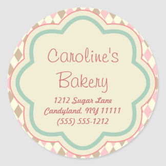 Baking Bakery Boutique, Pink Brown Geometric Round Sticker