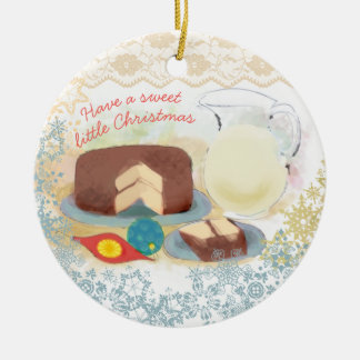 Baking chocolate cake milk Christmas ornament
