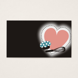 baking cupcake whisk heart business card black