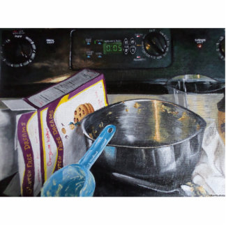 Baking in the Kitchen Painting 3D Photo Silhouette Standing Photo Sculpture