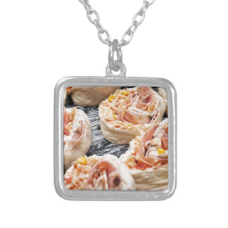 Baking pizzette silver plated necklace