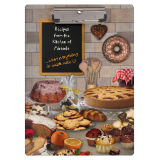 Baking Recipes Clipboard with your Name