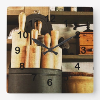 baking supplies - rolling pins in country store square wall clock